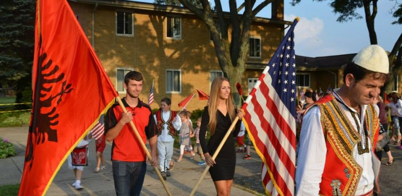 Albanian-American children at parade