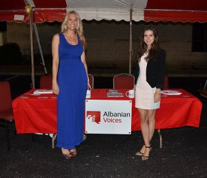 Ashley Wood and Bora Shehu in front of the Albanian Voices table at the festival.