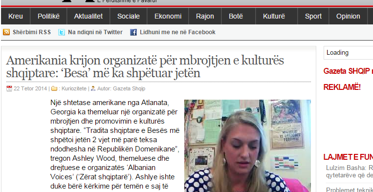 Albanian Voices makes it on Gazeta Shqip!